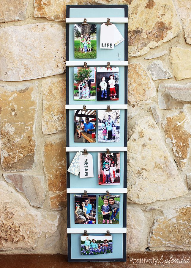 35+ Creative DIY Ways to Display Your Family Photos --> DIY Ladder Photo Display