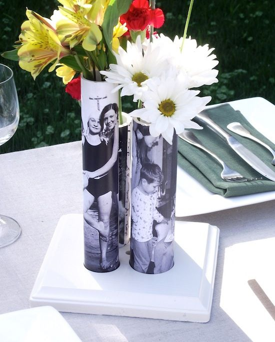 35+ Creative DIY Ways to Display Your Family Photos --> DIY Photo Vase From PVC Pipe