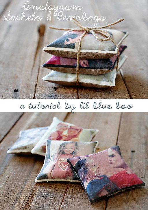 35+ Creative DIY Ways to Display Your Family Photos --> DIY Instagram Sachets and Beanbags