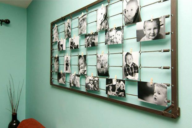 35+ Creative DIY Ways to Display Your Family Photos --> DIY Photography Wall Art from Baby Crib Springs