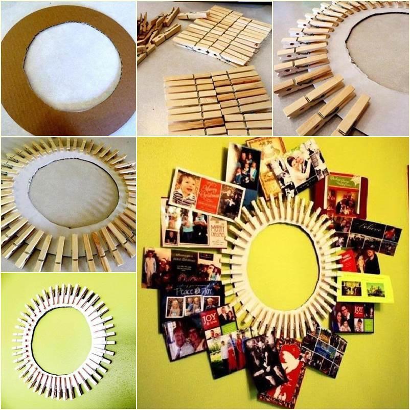 35+ Creative DIY Ways to Display Your Family Photos --> DIY Clothespin Photo Frame