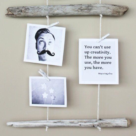 35+ Creative DIY Ways to Display Your Family Photos --> DIY Driftwood Photo Display