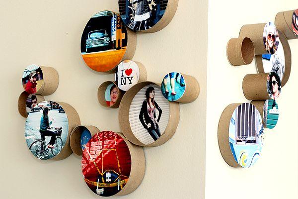 35+ Creative DIY Ways to Display Your Family Photos --> DIY Cardboard Ring Frames