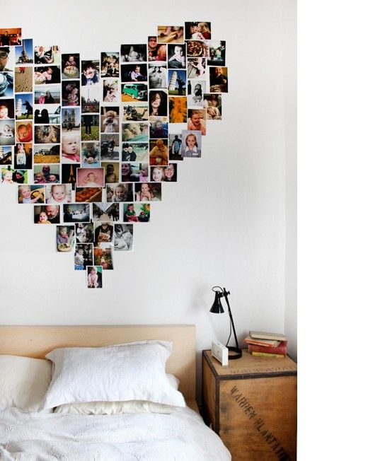 35+ Creative DIY Ways to Display Your Family Photos --> Heart Shaped Polaroid Collage