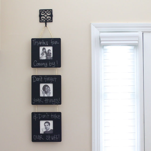 35+ Creative DIY Ways to Display Your Family Photos --> Chalkboard Frame Wall Hanging