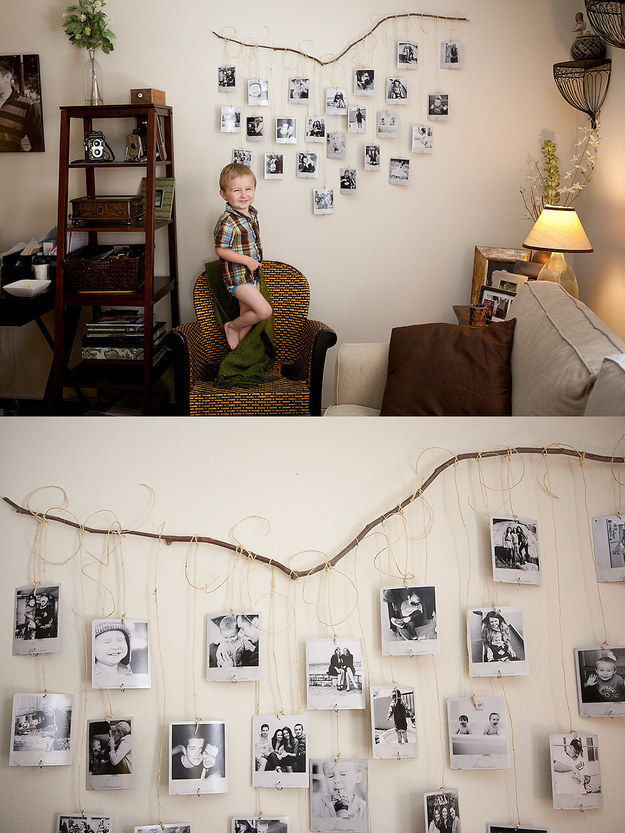 35+ Creative DIY Ways to Display Your Family Photos --> Fallen Branch Photo Wall