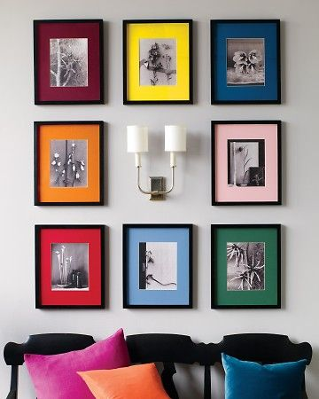 35+ Creative DIY Ways to Display Your Family Photos --> Colorful Display of Black and White Photos