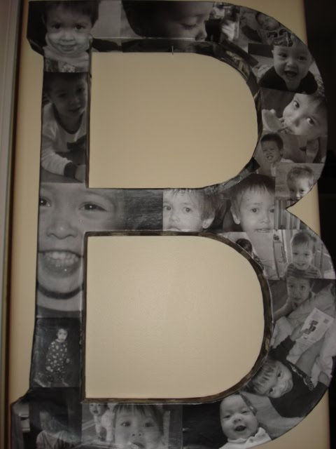 35+ Creative DIY Ways to Display Your Family Photos --> Mod Podge Photo Letter