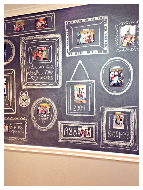 35+ Creative DIY Ways to Display Your Family Photos --> Chalkboard Photo Wall