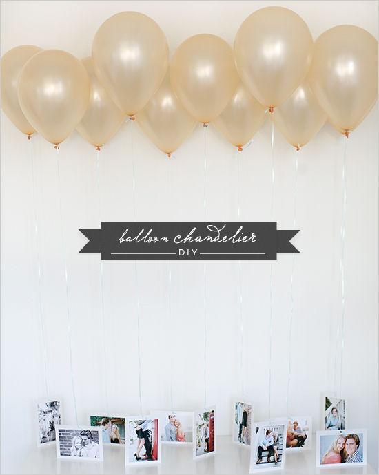 35+ Creative DIY Ways to Display Your Family Photos --> DIY Balloon Chandelier