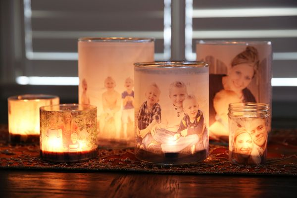 35+ Creative DIY Ways to Display Your Family Photos --> Glowing Photo Luminary