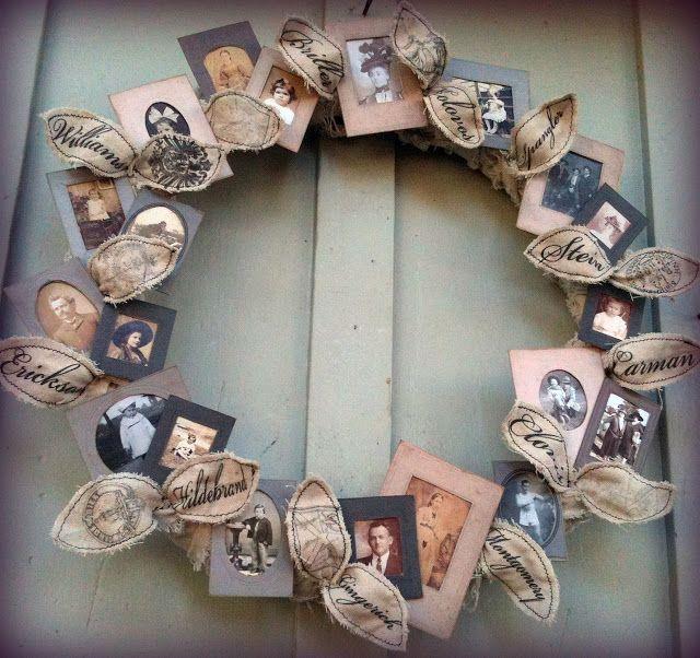 35+ Creative DIY Ways to Display Your Family Photos --> Family Tree Photo Wreath