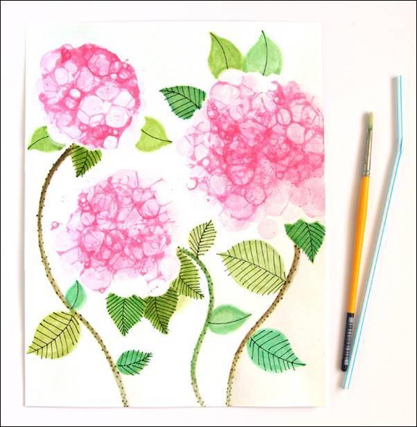 Creative Ideas DIY Pretty Bubble Paint Flower Hydrangeas
