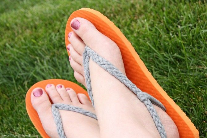 40+ Creative Ideas to Repurpose and Reuse Your Old T-shirts --> Flip-Flop Refashion with Braided Straps