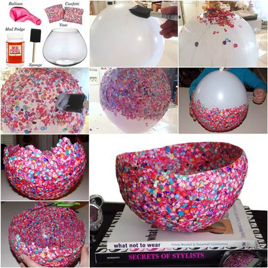 20 Creative DIY Ideas to Make a Unique Bowl --> DIY Confetti Bowl