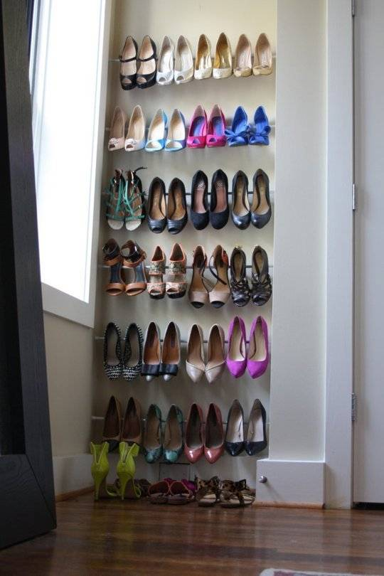 20+ Creative Uses of Tension Rods to Organize Your Home --> Use Tension Rods for Shoe Storage