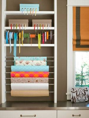 20+ Creative Uses of Tension Rods to Organize Your Home --> Use Tension Rod to Store Craft Supplies