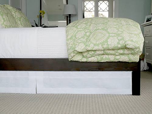 20+ Creative Uses of Tension Rods to Organize Your Home --> Use Tension Rod to Mount Bedskirt Underneath the Bed Frame