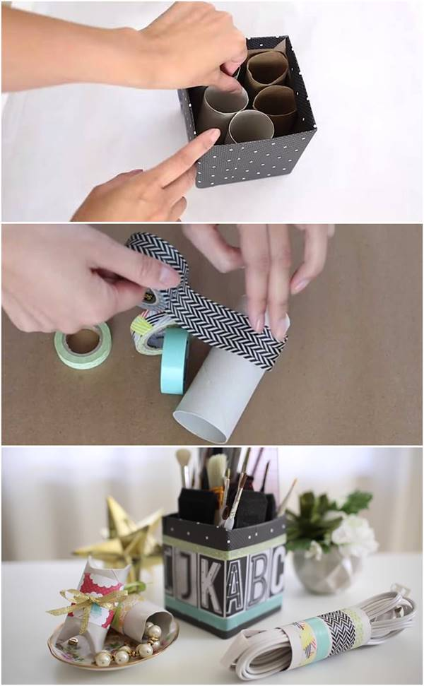 Creative Ideas - DIY Desk Organizer from Toilet Paper Rolls