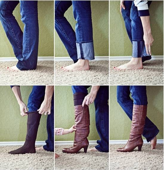 35+ Useful Clothing Hacks Every Woman Should Know --> Tuck your non-skinny jeans into boots