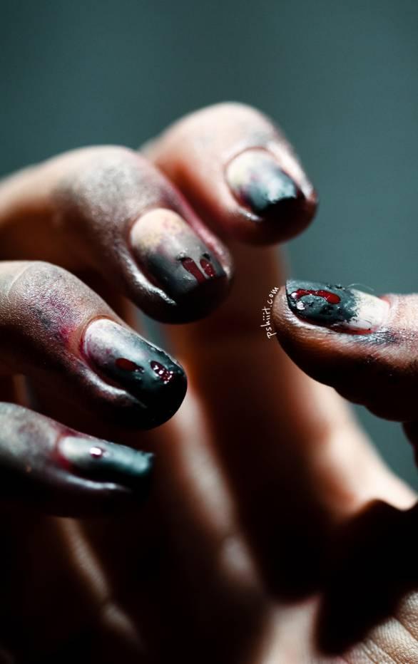 40+ Spooky and Creative DIY Halloween Nail Art Ideas --> Zombie Nails