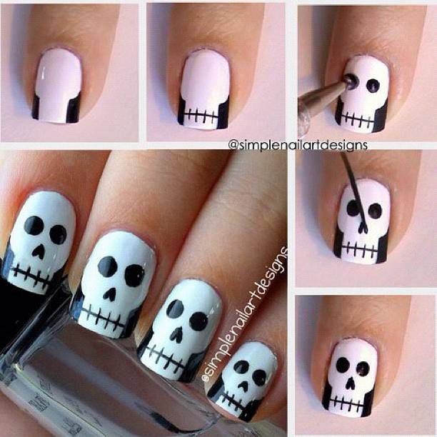 40+ Spooky and Creative DIY Halloween Nail Art Ideas --> Halloween Skull Nail Art