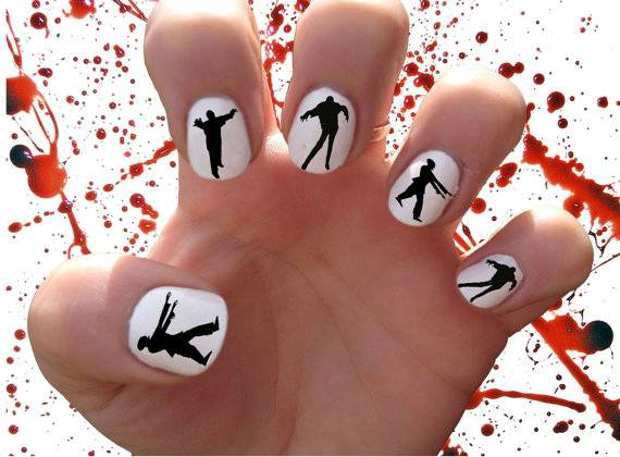 40+ Spooky and Creative DIY Halloween Nail Art Ideas --> Zombies Nail Decals