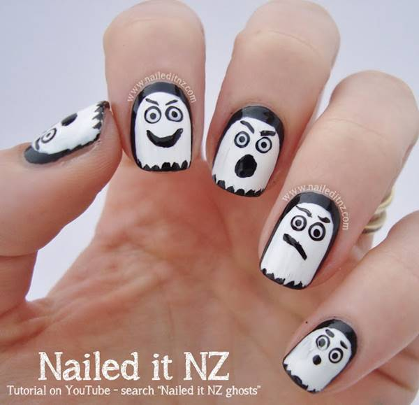40+ Spooky and Creative DIY Halloween Nail Art Ideas --> Halloween Ghost Nail Art