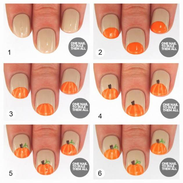 40 spooky and creative diy halloween nail art ideas pumpkins nail art - Halloween Easy Nail Art