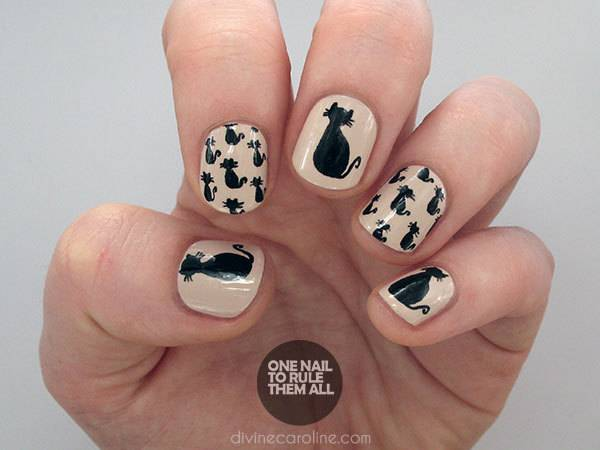 40+ Spooky and Creative DIY Halloween Nail Art Ideas --> Black Cat Halloween Nails