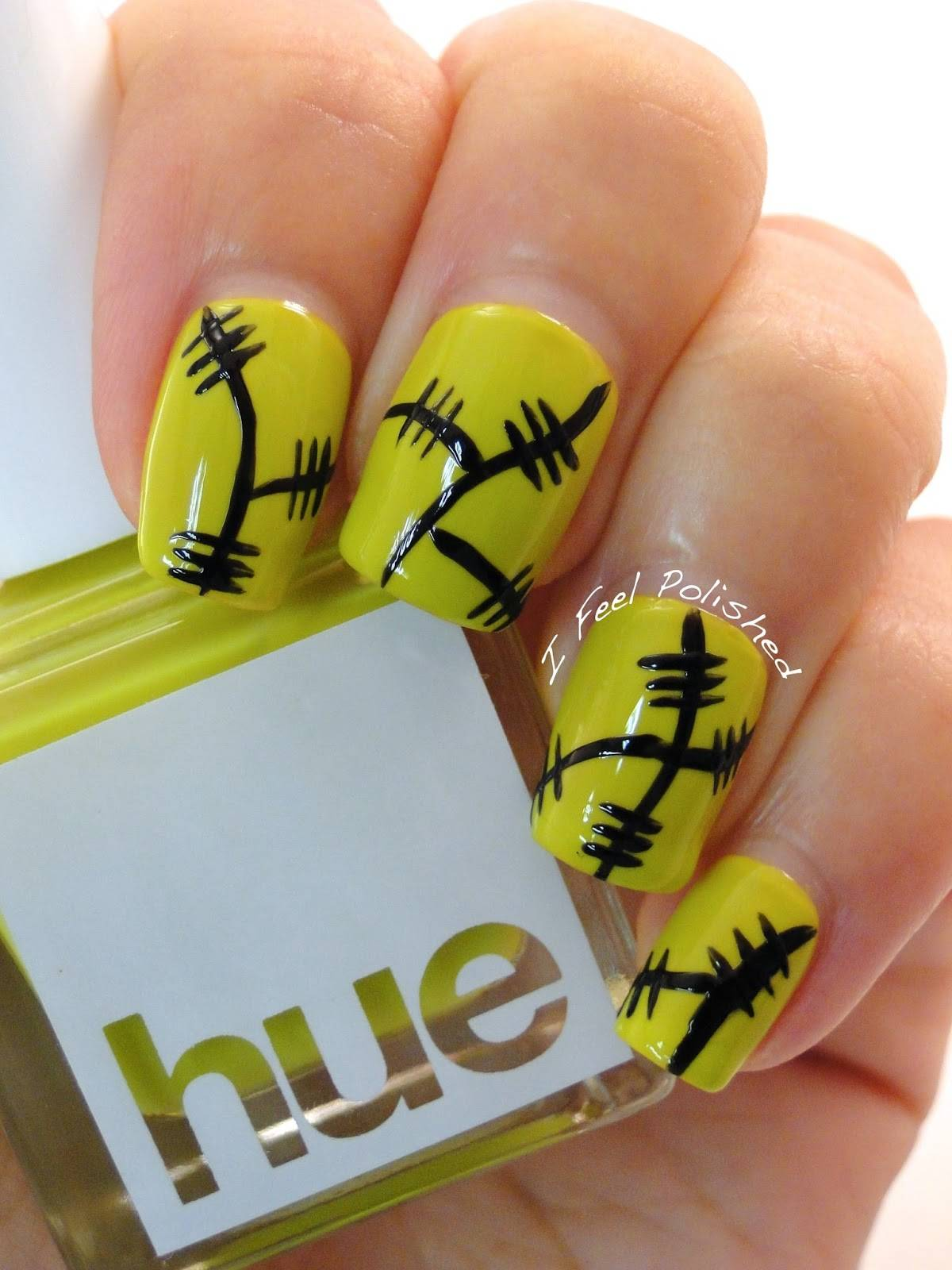 40+ Spooky and Creative DIY Halloween Nail Art Ideas --> Halloween Frankenstein Nails
