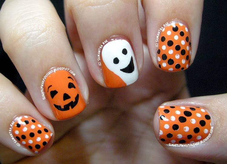40+ Spooky and Creative DIY Halloween Nail Art Ideas --> A Happy Pumpkin and Ghost Nail Art