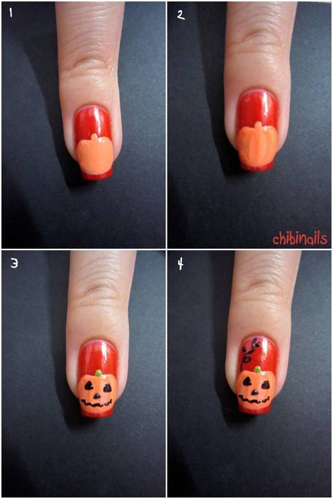 40+ Spooky and Creative DIY Halloween Nail Art Ideas --> Jack O Lantern Nail Art