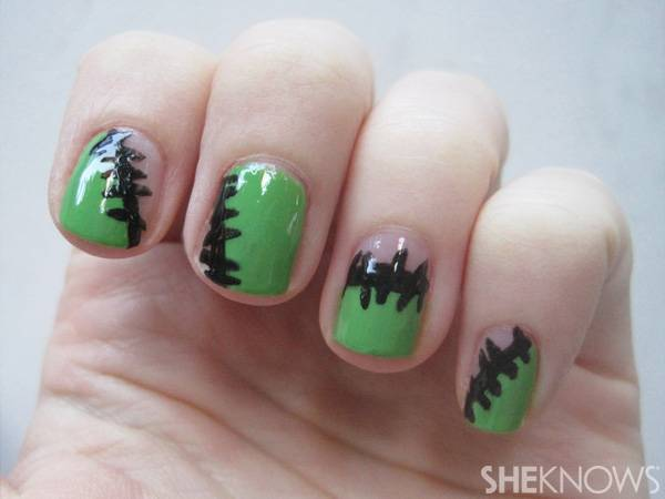 40+ Spooky and Creative DIY Halloween Nail Art Ideas --> Frankenstein Fingers