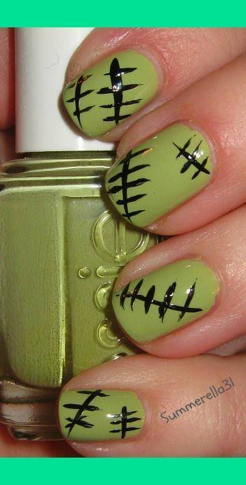 40+ Spooky and Creative DIY Halloween Nail Art Ideas --> Monster High Frankie Stein Nails