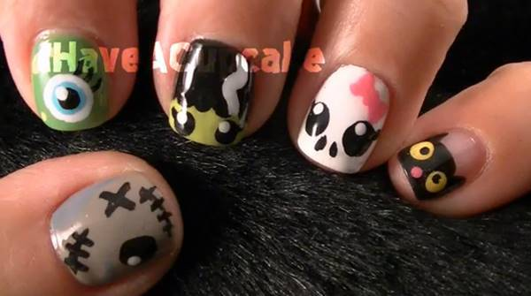 40+ Spooky and Creative DIY Halloween Nail Art Ideas --> Halloween Monster Nail Art