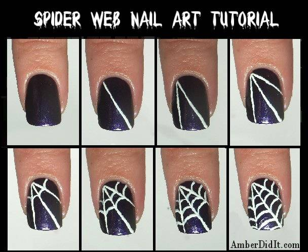 40+ Spooky and Creative DIY Halloween Nail Art Ideas --> Spider Web Nail Art