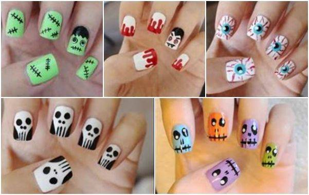 40+ Spooky and Creative DIY Halloween Nail Art Ideas --> Five Cute & Easy Halloween Nail Tutorials