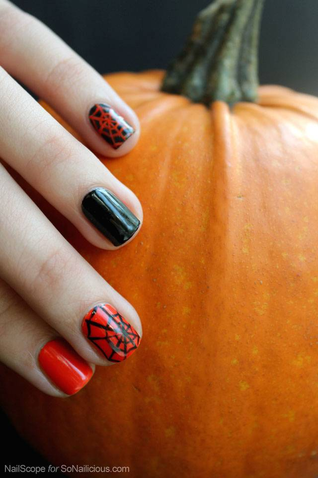 40+ Spooky and Creative DIY Halloween Nail Art Ideas --> Easy Spider Web Halloween Nail Art