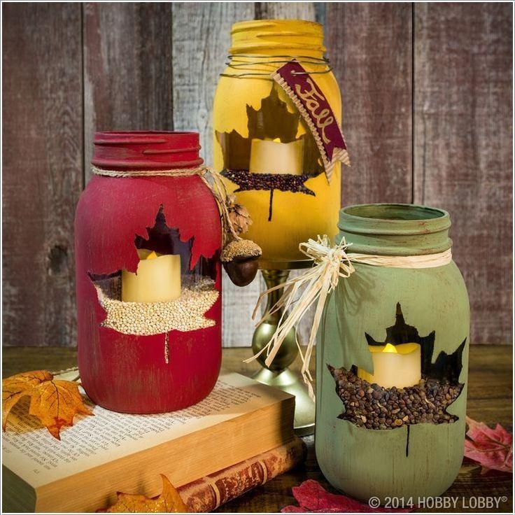 40+ Creative DIY Holiday Candles Projects --> Maple Leaf Mason Jar Luminary