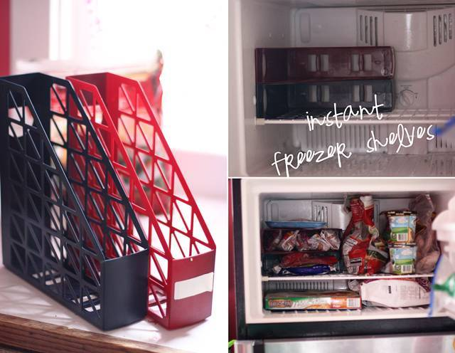 40+ Organization and Storage Hacks for Small Kitchens --> Turn magazine holders into freezer shelves