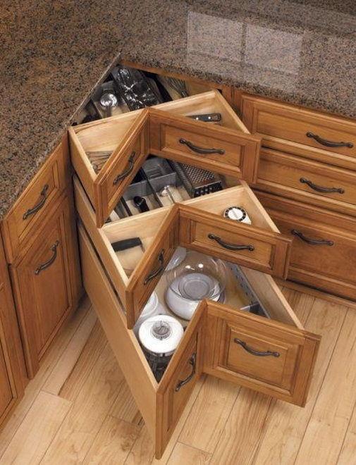 40+ Organization and Storage Hacks for Small Kitchens --> DIY kitchen corner drawers