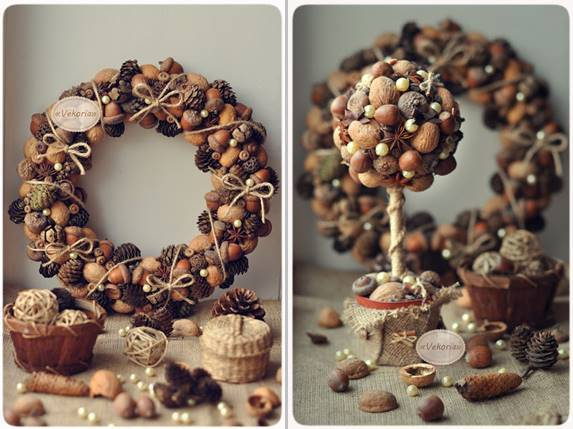 40+ Creative Pinecone Crafts for Your Holiday Decorations --> Pinecone and Nut Wreath and Topiary