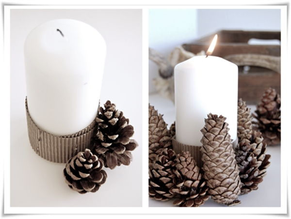 40+ Creative Pinecone Crafts for Your Holiday Decorations --> Pinecone Candle Holder