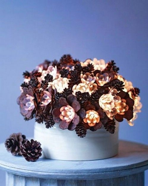 40+ Creative Pinecone Crafts for Your Holiday Decorations --> Lighted Pinecone Arrangement