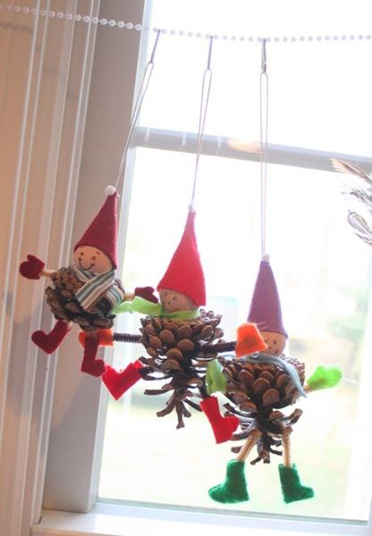 40+ Creative Pinecone Crafts for Your Holiday Decorations --> Elf and Owl Pinecone Ornaments