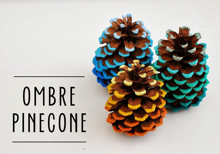 40+ Creative Pinecone Crafts for Your Holiday Decorations --> DIY Ombre Pinecones