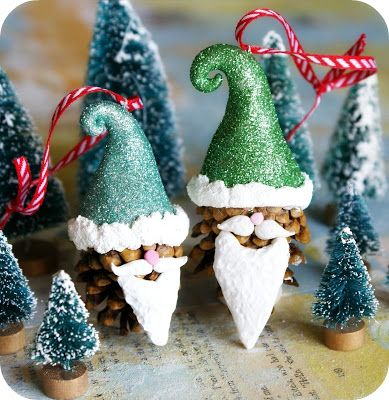 40+ Creative Pinecone Crafts for Your Holiday Decorations --> Santa Gnome Pinecone Ornaments