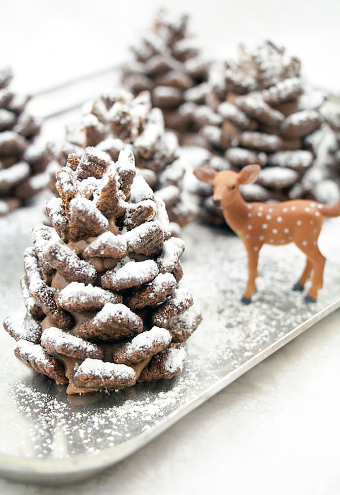40+ Creative Pinecone Crafts for Your Holiday Decorations --> Quick and Easy Snowy Chocolate Pinecones