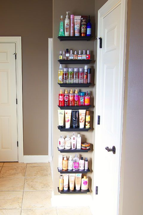 40+ Brilliant DIY Storage and Organization Hacks for Small Bathrooms --> Organize overflowing bathroom beauty products with crown molding shelves